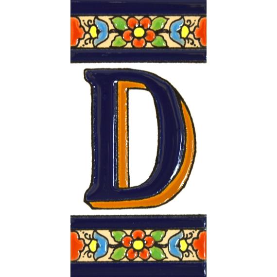 Dise/ño FLORES MINI 7,3 cm x 3,5 cm. LETRA A pintados a mano en t/écnica cuerda seca para nombres y direcciones Letreros con numeros y letras en azulejo de ceramica Texto personalizable