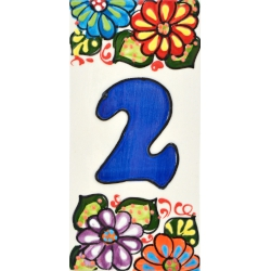 Testo personalizzabile fatte e dipinte a mano per nomi indirizzi e segnaletica LETTERA C Insegna con numeri e lettere fatte di piastrelle di ceramica Disegno JARDIN 14,5 cm x 7 cm.